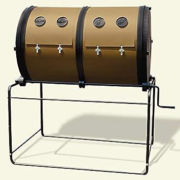 Compostador de jardín Mantis con 2 compartimentos – Compostador rotativo 2 x 350 litros