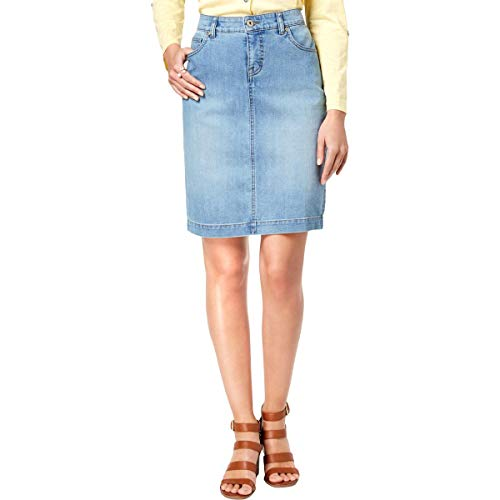 (Style & Co. Womens Light Wash Mini Denim Skirt Blue 14)