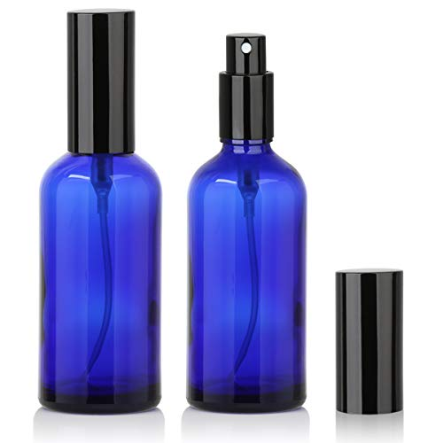 Blue Glass Spray Bottles 4oz for Essential Oils, Cologne, Perfume, Refillable Fine Mist Sprayers(2 PACK) (Cobalt Blue Glass Mister)