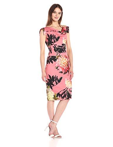 (Black Halo Women's Tropical Print Jackie O Dress, Coral Chrysanthemium 4)
