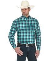 Wrangler Men's Advanced Comfort Long Sleeve Green/Navy Plaid Shirt