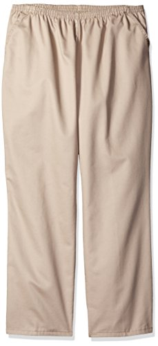 Chic Classic Collection Women's Petite Plus Stretch Elastic Waist Pull-On Pant, Khaki Twill, ()