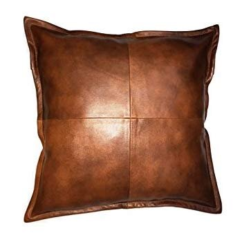 King Leathers 100% Lambskin Real Leather Pillow Cushion Cover - Sofa Cushion Case - Decorative Throw Covers for Living Room & Bedroom