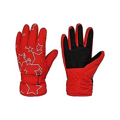 Eastlion Thickering Children's Gloves Winter Warm Boys and Girls Cute Skiing Gloves Stars Pattern Outdoor Waterproof Mittens