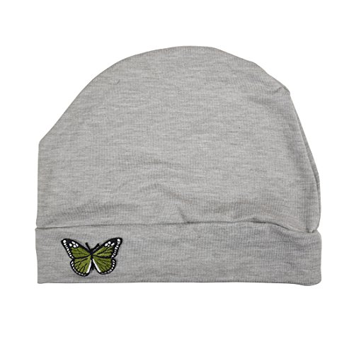 Embroidered Beanie Butterfly - Light Heather Grey Ladies Chemo Hat with Green Butterfly Bling