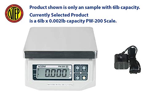 ACOM PW-200 Digital Portion Control Scale, Dual Display, Lb/Oz/Kg/g Switchable, Low Profile Design, 6lb Capacity, 0.002lb Readability, NTEP Legal for Trade ()