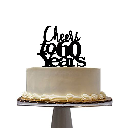 Cheers to 60 years cake topper for 60th birthday party decoration cake topper Black santonila ()
