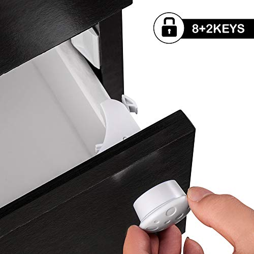 Baby Proofing Magnetic Cabinet Locks – Acdyion 8 Pack Child Safety Cupboard and Drawer Locks with 3M Adhesive Tape Latches