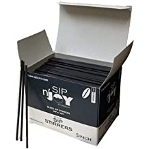 Crystalware, Plastic Stirrer, Sip Stirrer, For Coffee and Cocktail, 5 Inches, 1000/Box, Black