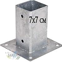 ANCLAJE CUADRADO METALICO 7x7 cm, base 15x15 cm.
