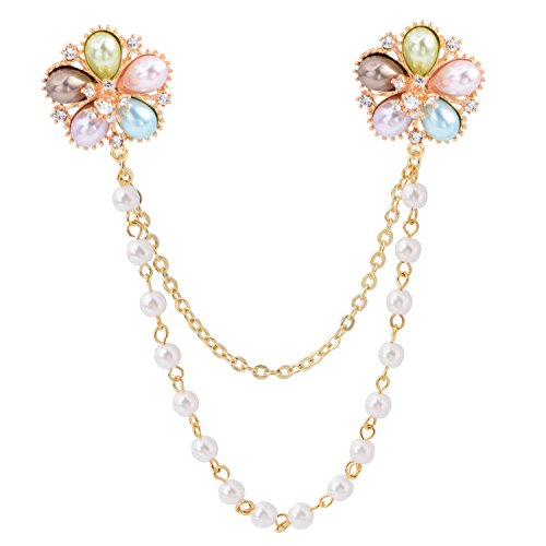 - Gold Tone Crystal MuitColor Pearl Daisy Flower Brooch Pins with Pearl Chain Tassel Collar Pin For Women