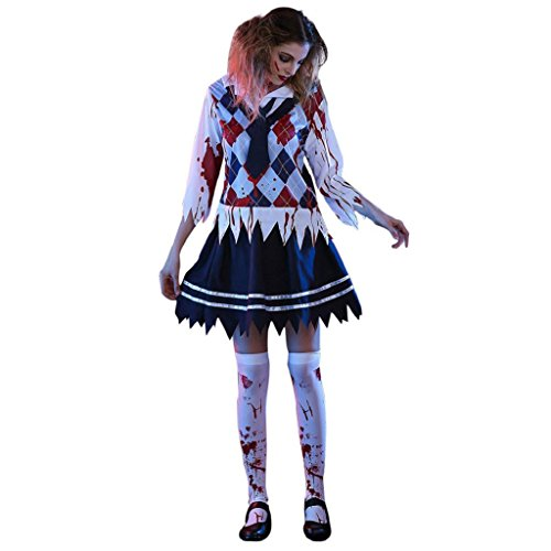 [Willsa Men Womens Horror Bloody Student Uniforms Halloween Costume Fancy Party Clothing (L, Black)] (Horror Makeup Value Kit)