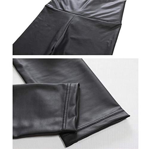Squisito vita donna sottile a Pantaloni similpelle zampa MKILJNH Pantaloni alta Black a in da 1tqnSwd