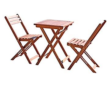 Nice Vifah V1381 Outdoor Wood Folding Bistro Set With Square Table And Two Chairs