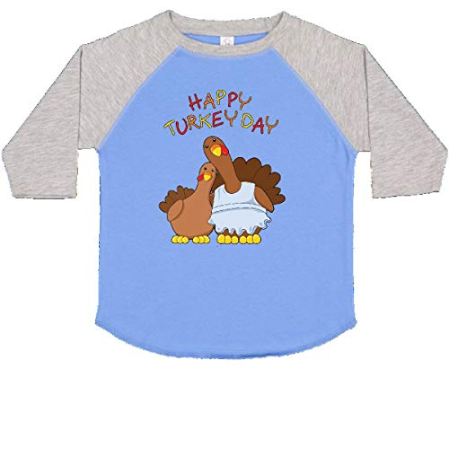 Happy Turkey Day T-shirt - inktastic - Happy Turkey Day Toddler T-Shirt 4T Blue and Heather 27121