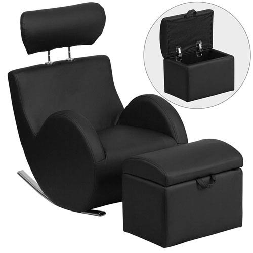 Parkside Series Black Vinyl Rocking Chair with Storage Ottoman by Parkside