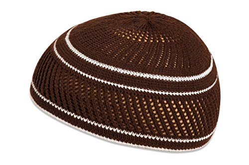 100% Cotton Skull Cap Chemo Kufi Under Helmet Beanie Hats in Solid Colors and Stripes (Brown with Lattice Design and White Stripes)