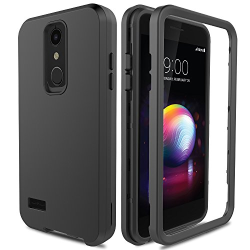 /LG Premier Pro L413DL/LG Phoenix Plus/LG Xpression Plus, AMENQ 3 IN 1 Heavy Duty Protection with Shockproof Silicone Rubber Shell and Scratch Resistant PC Armor Phone Cover -Black ()