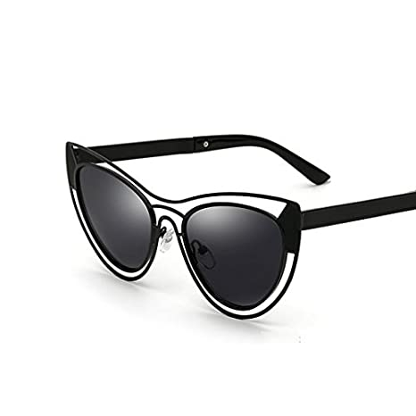 Tocoss (TM) Femmes Plus récente en métal creux œil de chat Lunettes de soleil femme sexy Marque Designer Lunettes de soleil femelles rondes vintage Miroir Eyewear UV400, Noir/gris