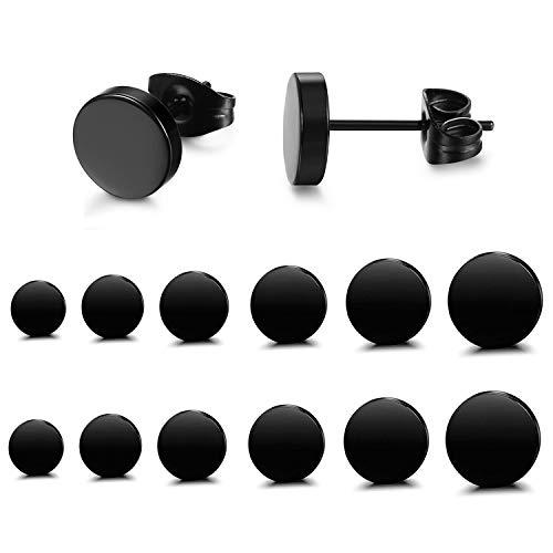 FIBO STEEL Stainless Steel Black Stud Earrings for Men Women 3-8mm