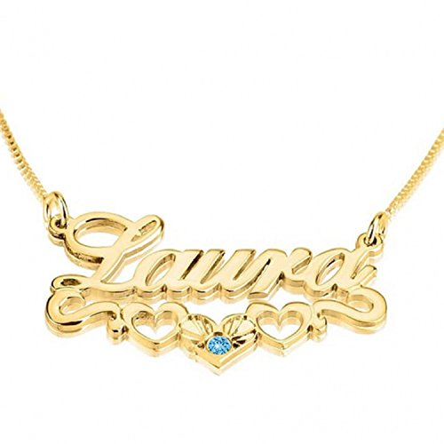 Personalized Custom 24K Gold Plated Hearts Name Necklace with Swarovski Stone Jewelry (14)
