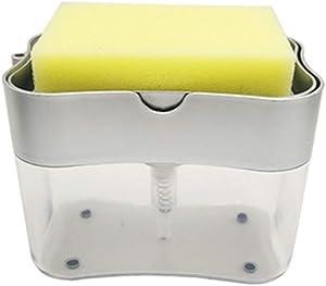 adshi Plastic Liquid Soap Dispenser Pump, Kitchen Countertop Soap Dispenser Pump Sponge Holder Sink Organizer, Liquid Soap Dispenser Kitchen for Kitchen Sink Tidy (Silver)