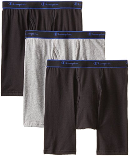 Champion Men's 3 Pack Performance Cotton Long Leg Boxer Briefs, Black/Grey/Black, Large (Long Boxer)