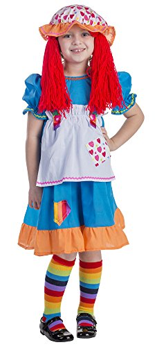 Rainbow Rag Doll Costume - Size Medium 8-10 (Raggady Ann Costume)
