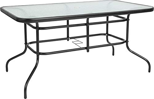 Flash Furniture 31.5'' x 55'' Rectangular Tempered Glass Metal Table by Flash Furniture