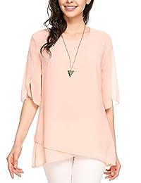 Meaneor Women Casual Chiffon Layered Half Flare Sleeve Sheer Blouse Shirts Top
