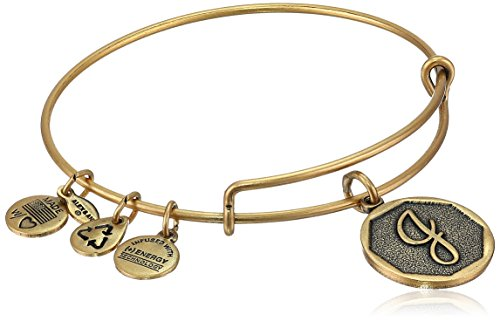 "Alex and Ani Rafaelian Gold-Tone Initial ""J"" Expandable Wire Bangle Bracelet, 2.5"""