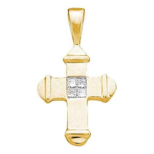 Roy Rose Jewelry 10K Yellow Gold Womens Princess Diamond Cross Pendant 1/20-Carat tw
