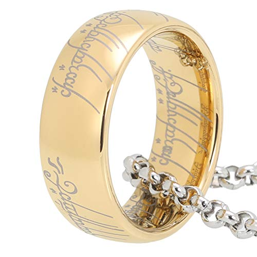 iTungsten 8mm Lords of The Rings Gold Tungsten Rings for Men Women Wedding Bands with One Free 316L Stainless Steel Chain (The One Ring)