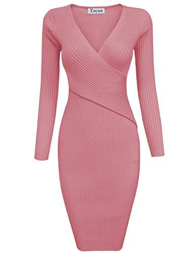 - TAM WARE Womens Stylish Surplice Wrap Bodycon Knit Midi Dress TWCWD157-CORAL-XL