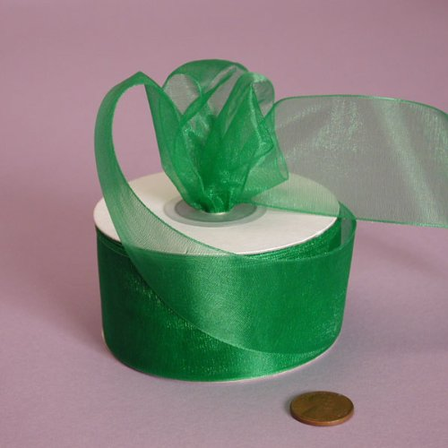 Emerald Green Shimmer Sheer Organza Ribbon, 1-1/2