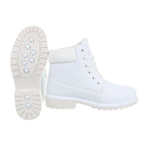 Ital Bianco Donna design Combat Stivali 4wY4Sr