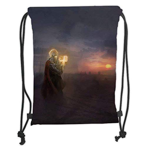 Niomhdos Custom Printed Drawstring Backpacks Bags,Fantasy,General Leading His Army in War Infantry Knight Armour Battle Scene in Dark Night,Multicolor,Adjustable String Closure