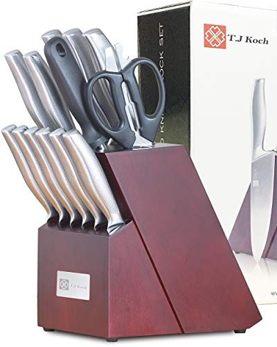 Knife Block Set Squamae Handle Single Piece Stainless Steel Kitchen Knives With Block Sharpener Scissors Steak Knives 15-piece For Home Cooking