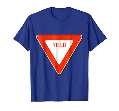Mens Yield Sign Simple Easy Halloween Costume T-Shirt 3XL Royal Blue ()
