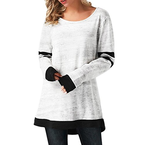 Flurries Women Dress, Fashion Womens Patchwork Curved Hem Long Sleeve Stripe Printed T-Shirt Blouse (L, White) by Flurries