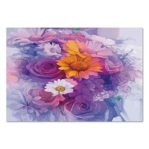 Large Wall Mural Sticker [ Watercolor Flower,Bouquet of Rose Daisy and Gerbera Flowers Impressionist Style,Purple Lilac Orange ] Self-adhesive Vinyl Wallpaper / Removable Modern Decorating Wall ()