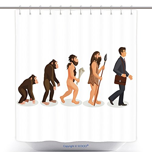 Antibacterial Shower Curtains From Ape To Man Standing Process Isolated Illustration Of Human Evolution From Ancient Times Till 537280867 Polyester Bathroom Shower Curtain Set With Hooks