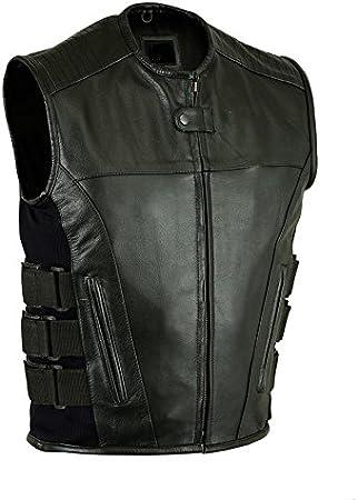 Mens Bikers Waistcoat Stylish SWAT Style Real Black Leather Vest