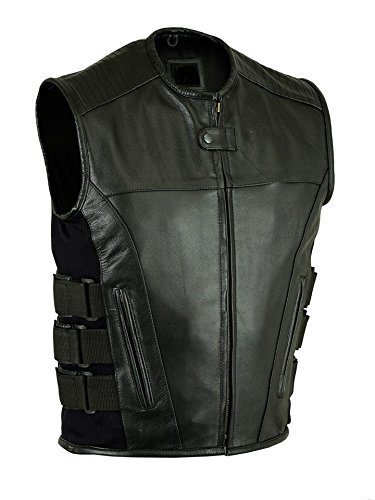 MEN'S MOTORCYCLE BIKER UPDATED TACTICAL SWAT STYLE LEATHER VEST NEW BLACK (2XL, BLACK) by EXCELSIOR INT