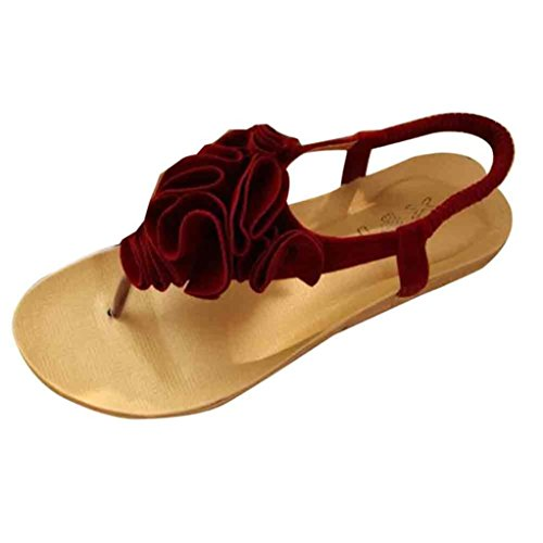 Jamicy Women Ladies Fashion Flower Summer Bohemia Sweet Clip Toe Sandals Beach Shoes Red