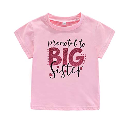 AMMENGBEI Toddler Girls T-Shirt Promoted to Big Sister Letters Print Kids Short Sleeve Tops Blouse 3-6 T (Tag 130:for 4-5 Years Old, Protomoted to Big Sister-Pink)
