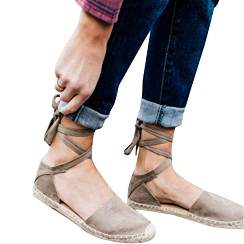 JJLIKER Women Suede Espadrilles Closed Toe Flats Summer Comfortable Casual Pregnant Ankle Lace Up Sandals Loafers Khaki