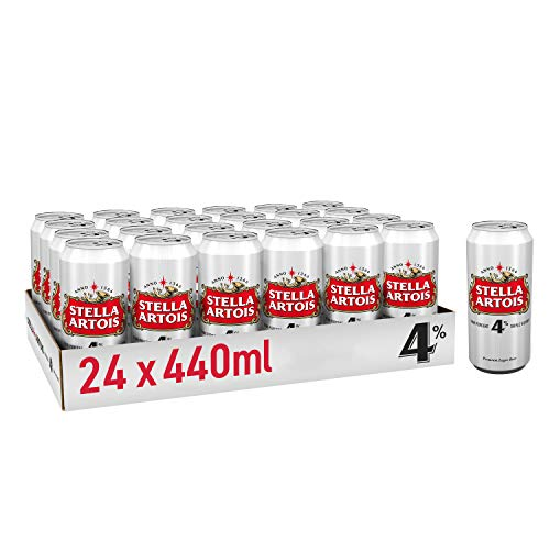 Stella Artois 4% Premium Belgian Style Lager Beer 24x440ml Cans, 4% ABV – Perfect Beer Case for Parties