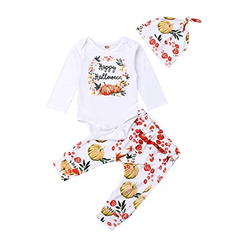 Happy Halloween Pumpkins White (Baby Halloween Costumes, Infant Boy Girl Happy Halloween Romper Bodysuit+Pumpkin Pants+Hat Fall Clothes (White Top Floral Pants, 18-24)