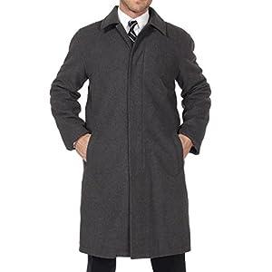 Alpine Swiss Zach Mens Wool Trench Coat Knee Length Overcoat Gray Lrg